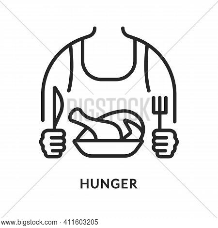Hunger Flat Line Icon. Vector Illustration Of A Man Who Wants To Eat All The Time. A Person With A C