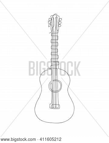 Continuous One Line Drawing Of Acoustic Guitar Instrument Isolated On White Background.