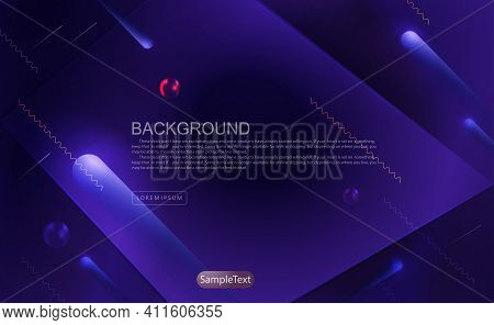 Dark Blue Geometric Background, Oblique Stripes With A Gradient, Frame With A Rhombus Shape