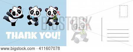Thank You Panda Postcard. Cute Asian Adorable Bears, Grateful Letter Template With Baby Pandas, Holi