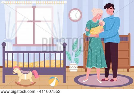 Happy Motherhood. Newborn Baby With Hugging Parents In Childhood Bedroom Interior, Young Family Toge