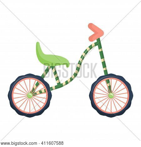 Bike, Running Bike In Cartoon Style Isolated On White Background. Vector Illustration, Car For Kids.