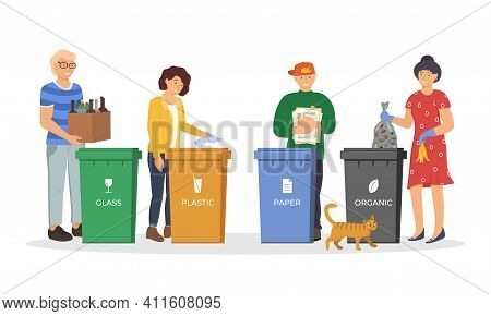 People Sorting Garbage For Recycling. Responsible Men And Women Standing Near Dustbin And Utilize Tr