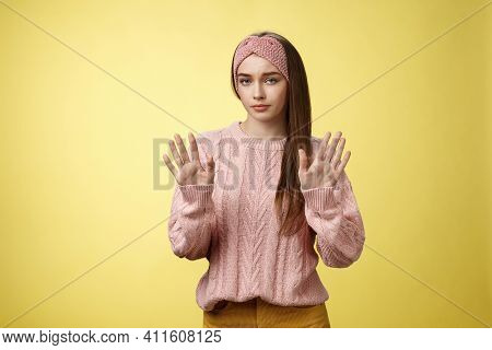 No Thanks. Cute Unamused Picky Young Girl In Knitted Sweater, Headband Showing Hold On, Slow Down, R