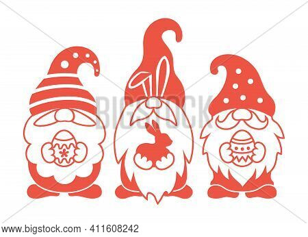 Easter Gnome Vector Silhouette. Cute Scandinavian Gnomes With Bunny And Eggs. Easter Greeting Card.