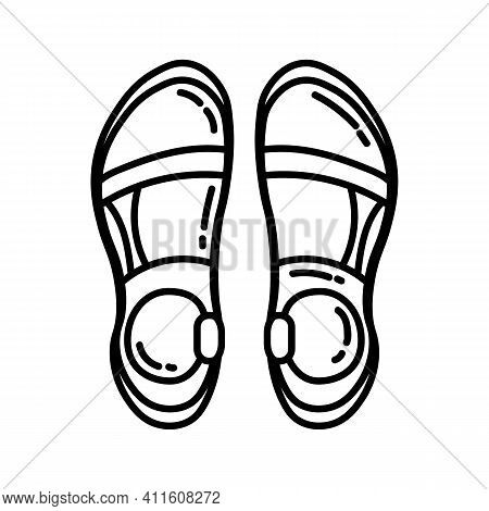 Pair Of Trekking Sandals Flat Line Icon. Camping Or Hiking Element Vector Isolated Image On White Ba