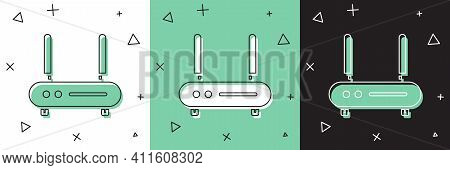Set Router And Wi-fi Signal Icon Isolated On White And Green, Black Background. Wireless Ethernet Mo