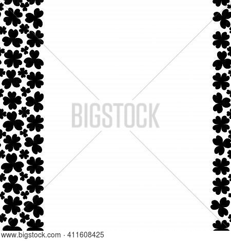 Clover. Silhouette. Seamless Vertical Border. Trefoil And Four-leafed. Repeating Vector Pattern. Sai