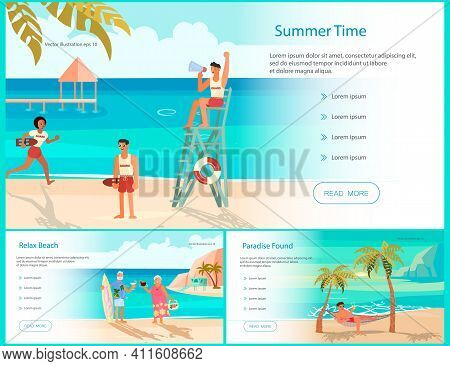 Set Of Landing Web Page Template With Summer Beach Landscape Background. Holidays And Vacations Bann