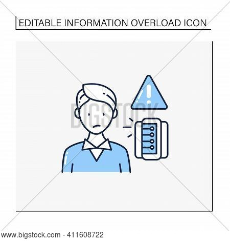 Information Anxiety Line Icon. Overwhelmed With Facts And Data. Unnecessary, Unimportant Info. Infor