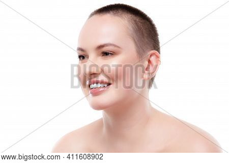Portrait Of A Beautiful Short-haired Woman With Perfect Glowing Skin