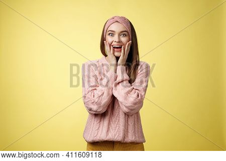 No Way, Amazing. Ecstatic Amazed And Amused Surprised Happy Positive Glamour Young European Girl In