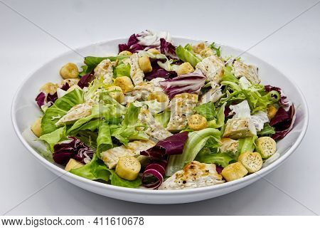 Chicken Salad With Grilled Chicken And Croutons. Grilled Chicken Breast And Fresh Salad