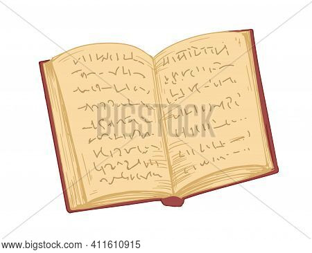 Open Old Book In Hardback With Ancient Pages Isolated On White Background. Antique Diary, Notebook O