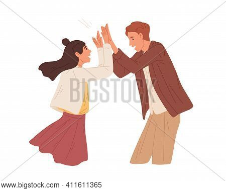 Happy People Giving High Five And Celebrating Achievement. Couple Of Man And Woman Gesturing Hi. Con