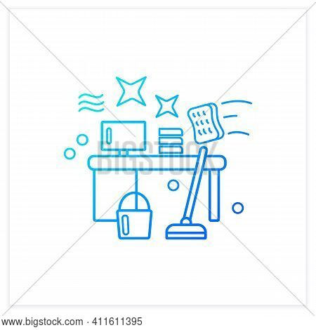 Office Cleaning Gradient Icon. Keeping Workplace Clean.tidy Office Desk.mopping, Wiping, Dusting. Cl