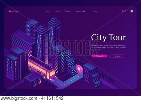 City Tour Banner. Travel And Sightseeing By Double Decker Bus In Town. Vector Landing Page Of Group