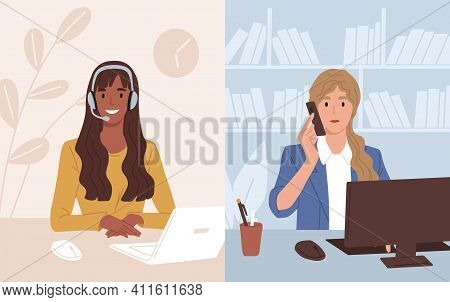Businesswoman At Workplace Talking To Assistant Of Call Center. Operator Of Customer Support Service