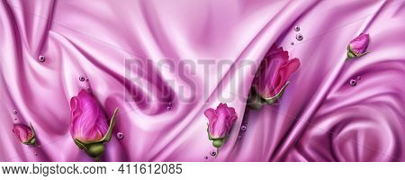 Abstract Background With Pink Silk Cloth And Rose Buds. Texture Of Shiny Satin Fabric With Waves And