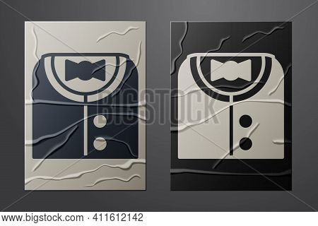 White Suit Icon Isolated On Crumpled Paper Background. Tuxedo. Wedding Suits With Necktie. Paper Art
