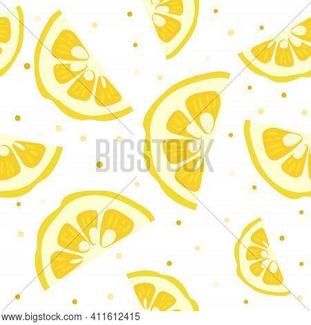 Yuzu Japanese Citron Fruit Seamless Pattern Vector Illustration Isolated On White Background. Sliced
