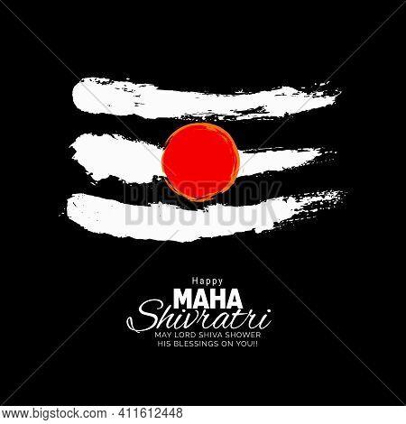 Lord Shiva Tika (symbol Of Lord Shiva) On Black Background For Maha Shivratri Festival Vector Design