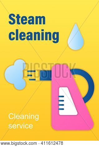 Steam Cleaning Brochure. Cleaning Method. Steaming Process Template. Flyer, Magazine, Poster, Book C
