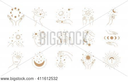 Mystic Astrology. Hand Drawn Magic Vintage Signs, Esoteric Cult Fairy Design. Vector Abstract Zodiac