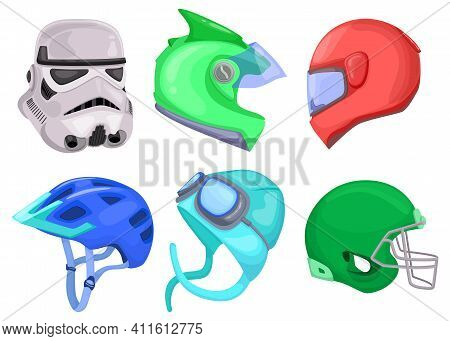 Bright Colorful Sport Helmets Flat Pictures Collection. Cartoon Motorcycle Or Motorbike Protective H
