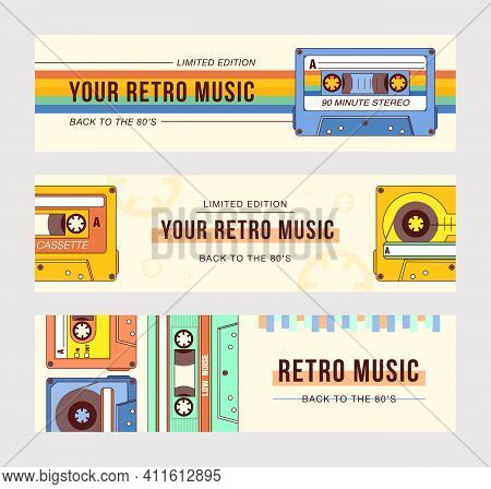 Stylish Banner Designs For Old Music Festival. Vivid Brochures With Plastic Audiocassettes. Retro Mu