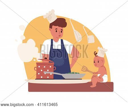 Young Father Cooking. Dad Doing Household Chores With Baby In Kitchen. Housekeeping And Paternity Le
