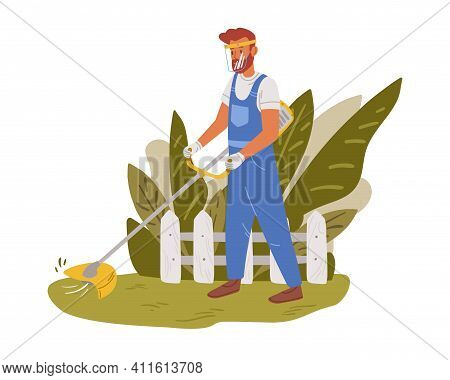 Gardener Working On Backyard And Mowing Lawn With Electric Mower. Male Handyman Cutting Grass In Gar