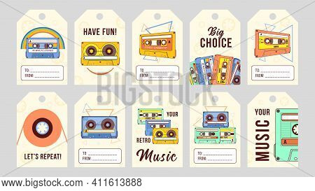Trendy Special Tag Designs With Analogue Tapes. Cartoon Plastic Audiocassettes On Light Background.
