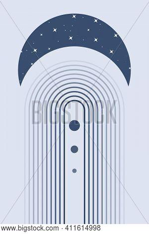 Rainbow Boho, Bohemian Print, Minimalist Decor, Abstract Poster, Nursery Wall Art, Blue Color Vector