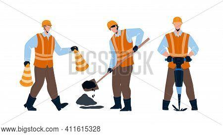 Road Worker Repairing Street Infrastructure Vector Illustration