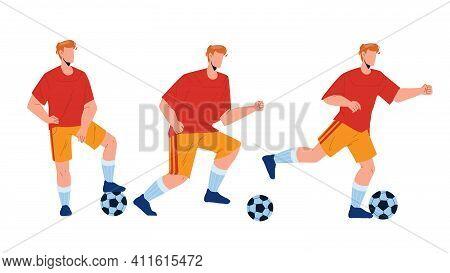 Football Player Playing And Kicking Ball Vector