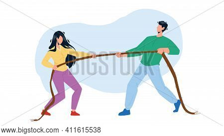 Pulling Rope Young Man And Woman Together Vector