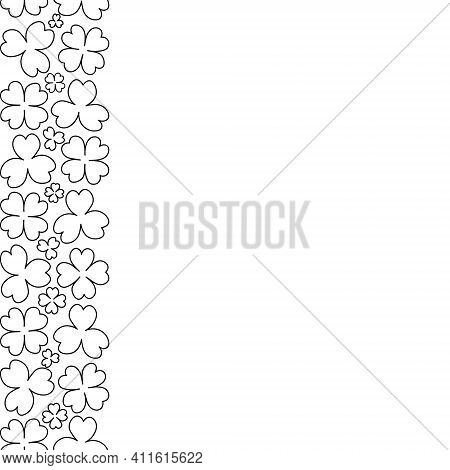 Clover. Sketch. Seamless Vertical Border. Trefoil And Four-leafed. Repeating Vector Pattern. Saint P