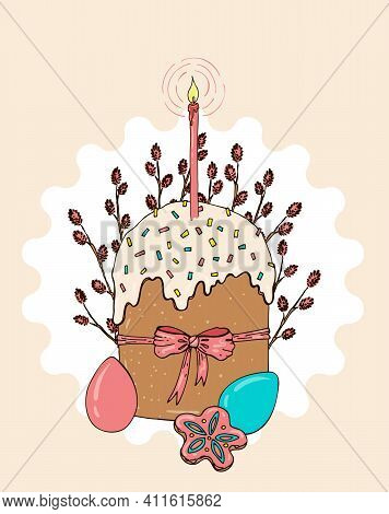Easter Handdrawn Composition With Cake And Candle, Colored Easter Eggs And Willows In Pastel Colors.