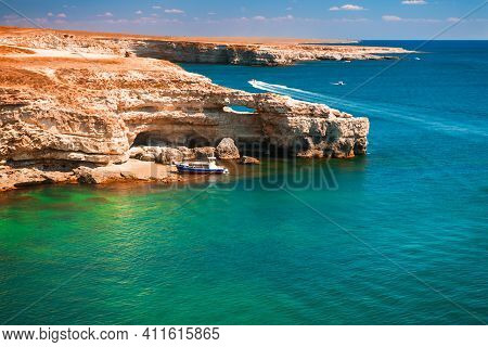 Beautiful Sea Coast With Turquoise Water And Rocks. Tarhankut Cape On The Western Coast Of Crimea Pe