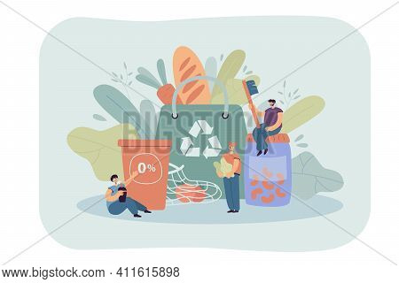Big Sustainable Shopping Bag And Tiny People Protecting Environment, Thinking Of Future. Cartoon Per