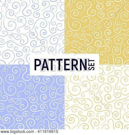 Seamless Background In Art Nouveau Style With Swirls, Fashionable Modern Wallpaper Or Textile. White