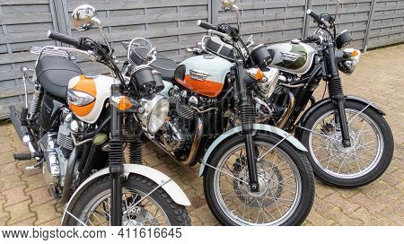 Bordeaux , Aquitaine France - 03 03 2021 : Triumph Bonneville T100 Three Models Of Retro Vintage Bon