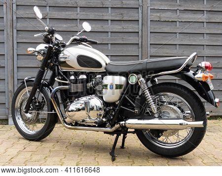 Bordeaux , Aquitaine France - 03 03 2021 : Triumph Bonneville T100 Limited Edition 110th Anniversary