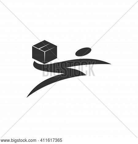 People Holding Package Bolt Fast Delivery Design Graphic Template Isolated