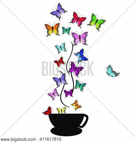 Abstract Illustration Wof A Cup With Colored Butterflies