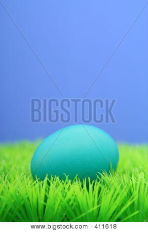 Blue Easter Egg On Grass