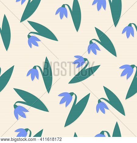 Spring Vector Seamless Pattern With Blue Snowdrops
