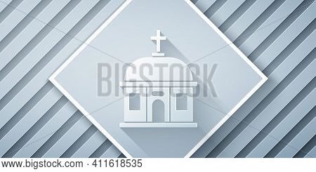 Paper Cut Santorini Building Icon Isolated On Grey Background. Traditional Greek White Houses With B