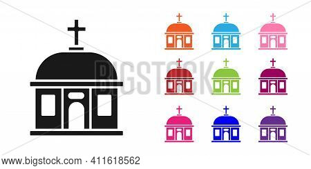 Black Santorini Building Icon Isolated On White Background. Traditional Greek White Houses With Blue